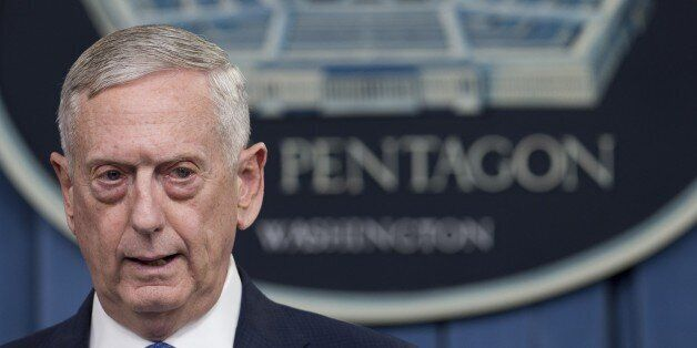 US Secretary of Defense Jim Mattis speaks during a press briefing at the Pentagon in Washington, DC,...