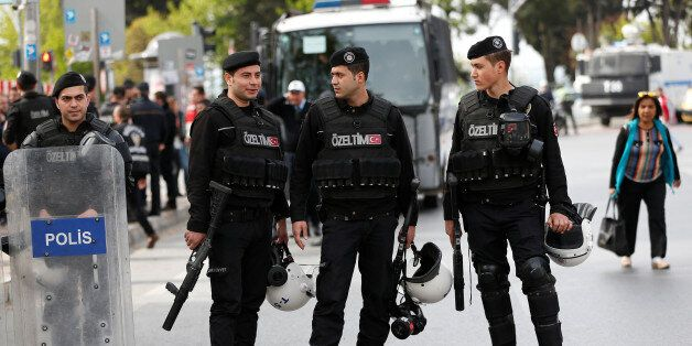 Turkish riot police is seen at the Taksim Square during the May Day in Istanbul, Turkey May 1, 2017....