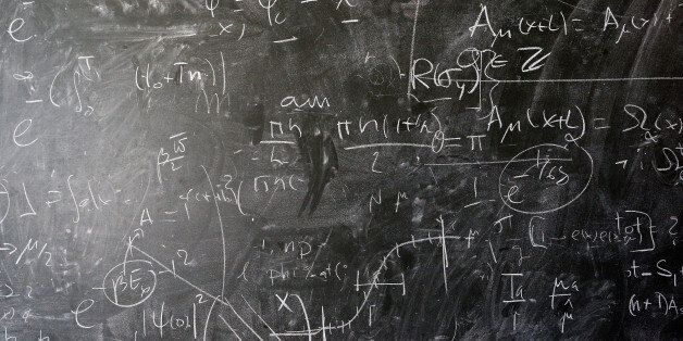 GENEVA, SWITZERLAND - APRIL 19: A detailed view of the blackboard with theoretical physics equations...
