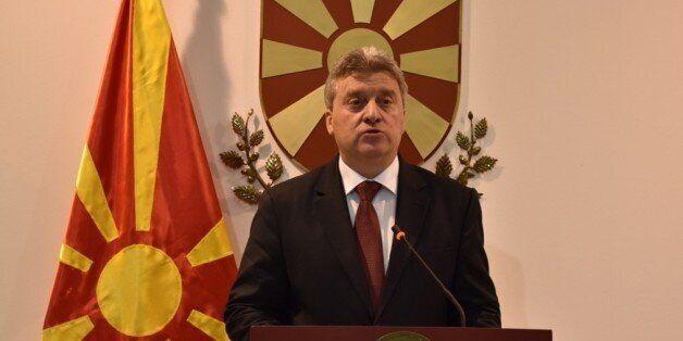 SKPOJE, MACEDONIA - APRIL 27: Macedonian President Gyorge Ivanov holds a press conference in Skopje,...