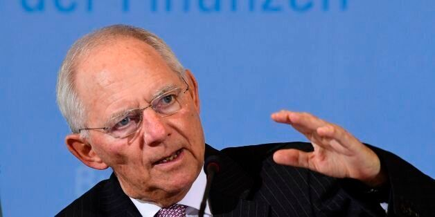 German Finance Minister Wolfgang Schaeuble holds a press conference on Germany's 2017 tax revenue forecast,...