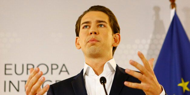 Austria's Foreign Minister Sebastian Kurz addresses a news conference in Vienna, Austria, May 12, 2017....
