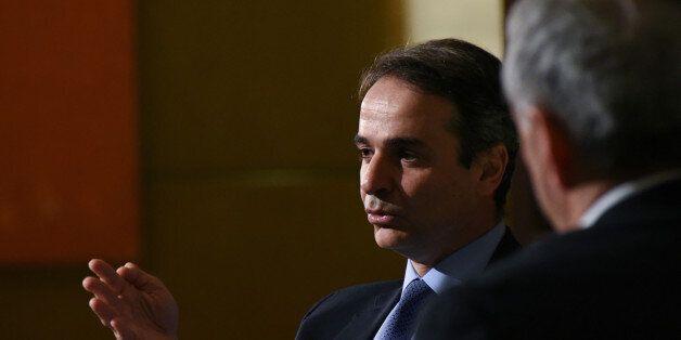 Greek opposition leader Kyriakos Mitsotakis meeting Francis Fukuyama at