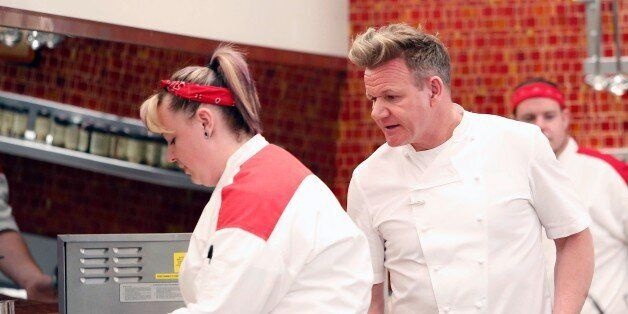 HELL'S KITCHEN: L-R: Contestant Heather and chef / host Gordon Ramsay in the all-new Black Jacket lounge episode of HELLS KITCHEN airing Thursday, Jan. 12 (8:00-9:01 PM ET/PT) on FOX. (Photo by FOX via Getty Images)