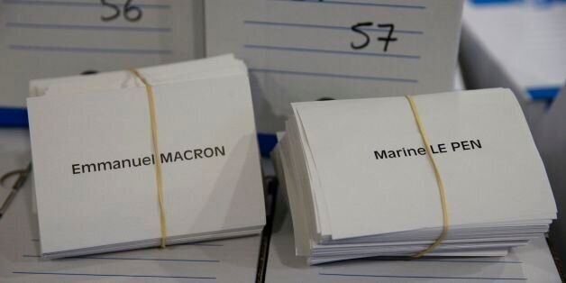 A photo taken on May 6, 2017 shows ballot papers with the names of the two presidential candidates at...
