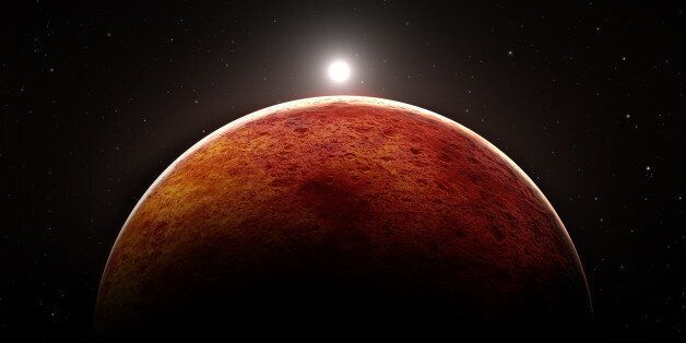 Planet Mars with moon,
