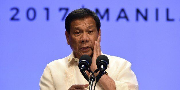 Philippines' President Rodrigo Duterte speaks during a press conference at the end of Association of...