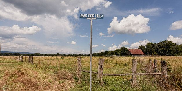 Street sign for Mad Dog Hill Lane. June 26, 2015. Bluffton