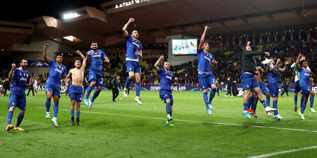 MONACO - MAY 03: Juventus players celebrate after the full time whistle during the UEFA Champions League...