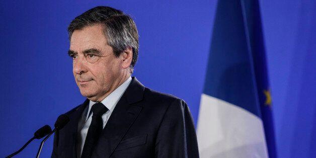 PARIS, ILE DE FRANCE - APRIL 23: Les Republicains candidate Francois Fillon delivers a speech after projected...