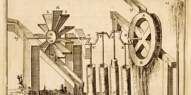 ITALY - MAY 25: Mechanism for raising water from a canal to a tower, illustration from the Spiritalium...