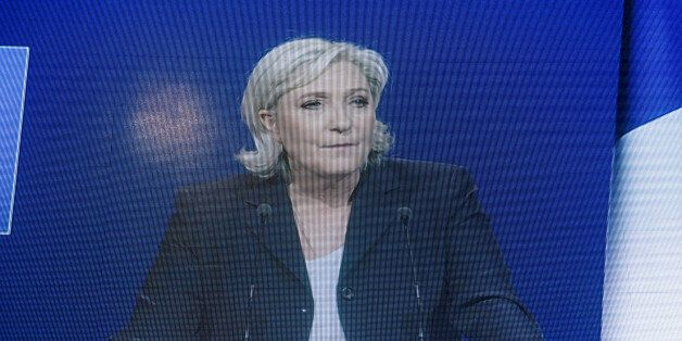 Marine Le Pen gives a speech in Villepinte, near Paris, for a big rally before the 2nd round of 2017...