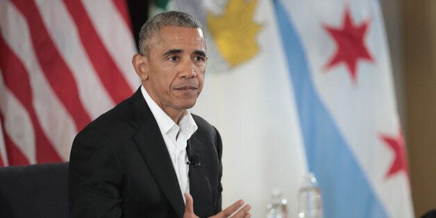 CHICAGO, IL - MAY 03: Former President Barack Obama moderates a roundtable discussion at the South Shore...