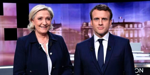French presidential election candidate for the far-right Front National (FN) party, Marine Le Pen (L)...