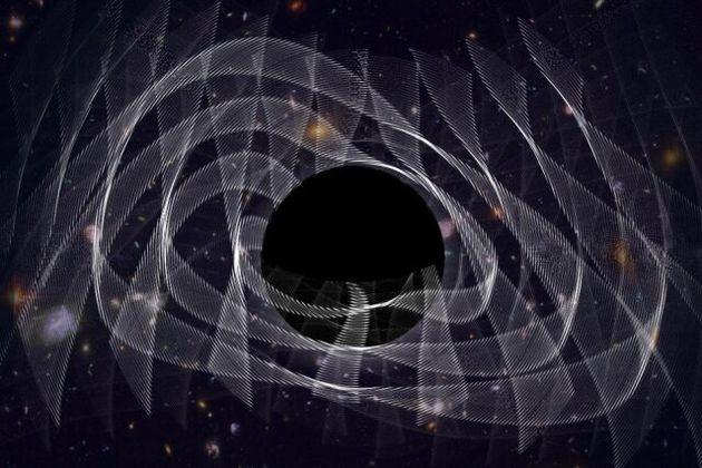 Vue d'artiste d'un trou noir et des ondes gravitationnelles