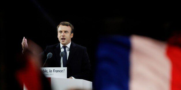 French president-elect Emmanuel Macron delivers a speech at the Pyramid at the Louvre Museum in Paris...