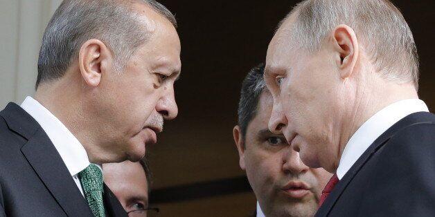 SOCHI, RUSSIA - MAY 3, 2017: Turkey's President Recep Tayyip Erdogan and Russia's President Vladimir...