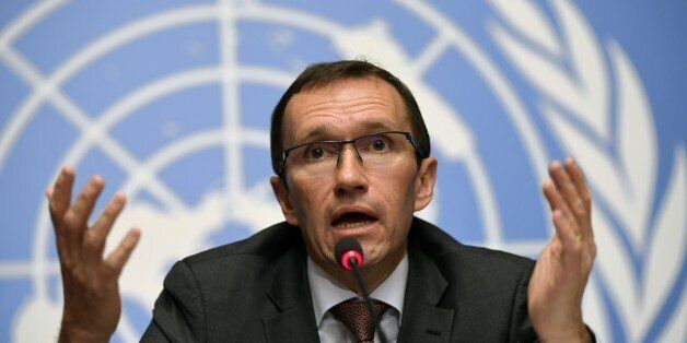 Special Advisor to the UN Secretary-General on Cyprus Norway's Espen Barth Eide, gives a press conference...