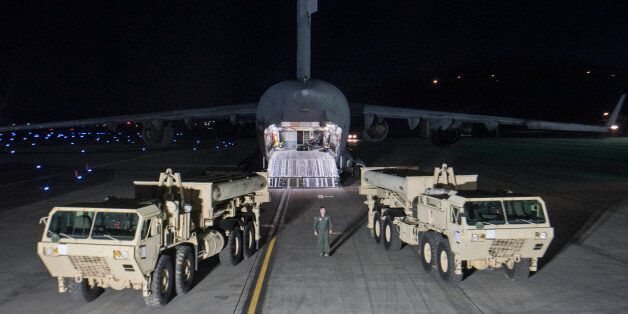 Photo provided by U.S. Forces Korea, a truck carrying parts of U.S. missile launchers and other equipment...
