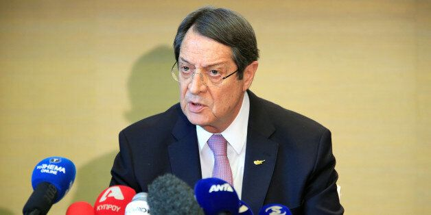 Cypriot President Nicos Anastasiades speaks during a news conference in Geneva, Switzerland January 13,...