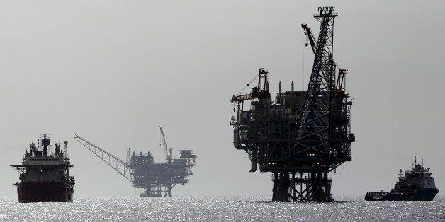 An Israeli gas platform, controlled by a U.S.-Israeli energy group, is seen in the Mediterranean sea,...