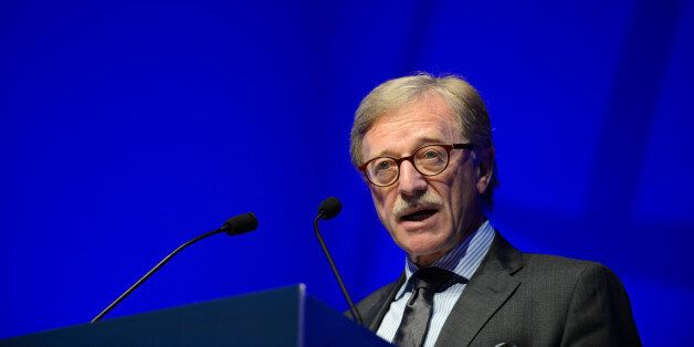 Yves Mersch, member of the executive board of the European Central Bank (ECB), speaks during the Institute...