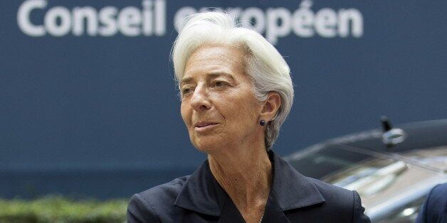International Monetary Fund (IMF) Managing Director Christine Lagarde arrives at a Eurozone finance ministers...