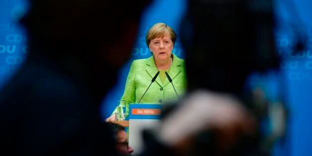 German Chancellor Angela Merkel gives a press conference in Berlin on May 8, 2017, one day after regional...