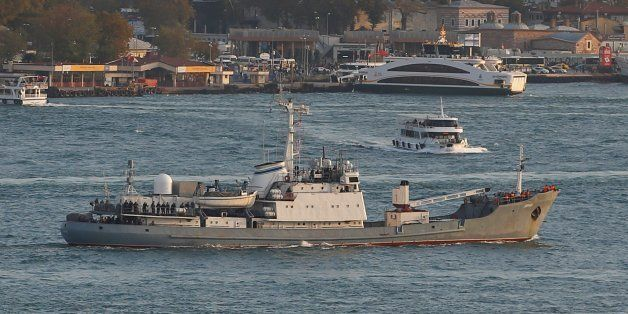 Russian Navy's reconnaissance ship Liman of the Black Sea fleet sails in the Bosphorus, on its way to...