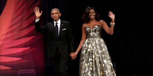 U.S. President Barack Obama and First lady Michelle Obama arrive at the Congressional Black Caucus Foundation's...