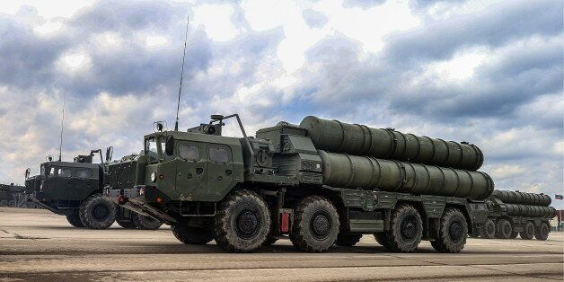 MOSCOW REGION, RUSSIA - APRIL 5, 2017: S-400 Triumf medium-range and long-range surface-to-air missile...