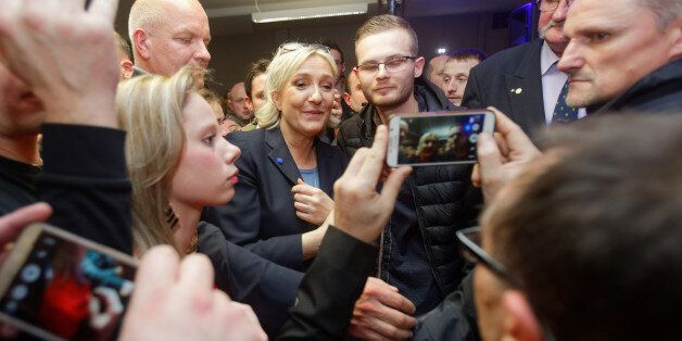 LILLE, FRANCE - JANUARY 27: (EXCLUSIVE COVERAGE) French far-right party National Front leader Marine...