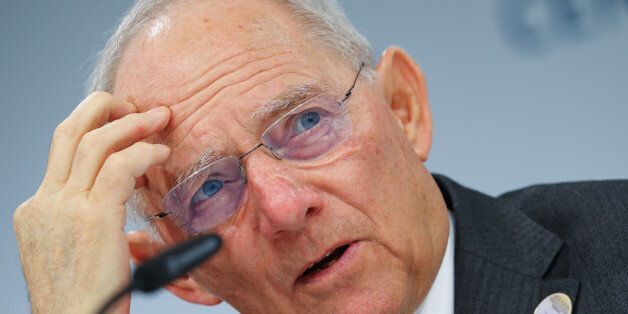 German Finance Minister Wolfgang Schaeuble addresses a news conference at the G20 Finance Ministers and...