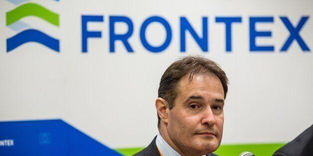 Fabrice Leggeri, head of European border control agency Frontex attends a press conference in Warsaw,...