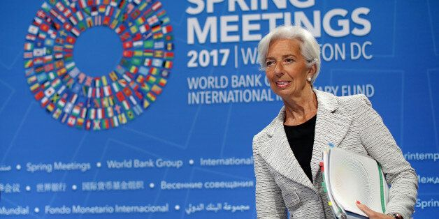 WASHINGTON, DC - APRIL 20: International Monetary Fund Managing Director Christine Lagarde arrives for...