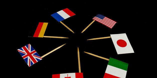 Flags of G7 isolated on black