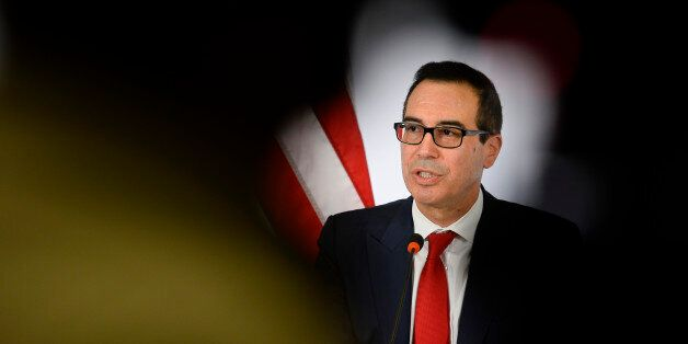 US Secretary of the Treasury Steven Mnuchin speaks during a press conference at the G 20 Finance Ministers...