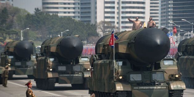An unidentified rocket is displayed during a military parade marking the 105th anniversary of the birth...