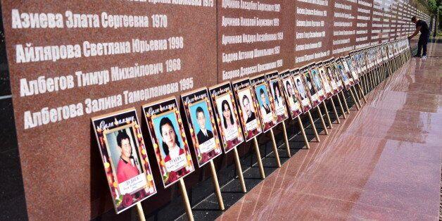 BESLAN, RUSSIA - SEPTEMBER 3, 2016: Portraits of victims of the 2004 Beslan school siege during a memorial...