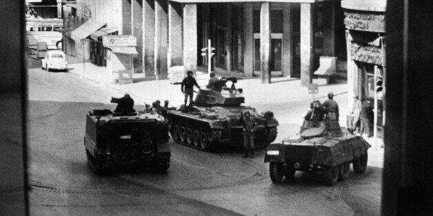 Greek army tanks and soldiers take position in Omnia Place, 27 April 1967, after the military coup of...