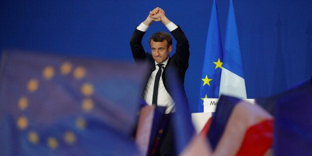 Emmanuel Macron, head of the political movement En Marche !, or Onwards !, and candidate for the 2017...