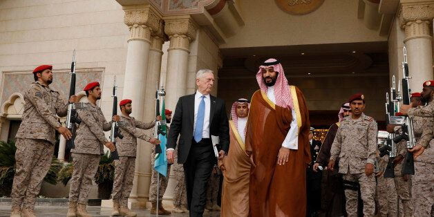 RIYADH, SAUDI ARABIA - APRIL 19: U.S. Defense Secretary James Mattis (L) departs after meeting with Saudi...