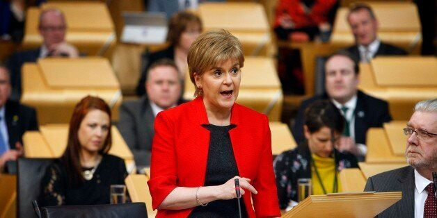 A handout photo made available from the Scottish Parliament on March 21, 2017, shows Scotland's First...