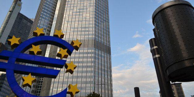 Frankfurt, Hessen, Germany – August 21, 2011: European Central Bank and Kommerz Bank buildings, Euro...