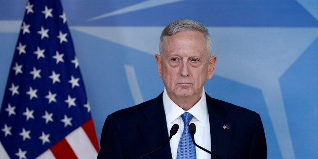 U.S. Defence Secretary Jim Mattis briefs the media during a NATO defence ministers meeting at the Alliance's...