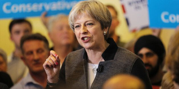 DUDLEY, UNITED KINGDOM - APRIL 22: Prime Minster Theresa May delivers a stump speech at Netherton Conservative...
