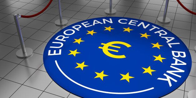 Round illustration laying on a tiled floor with the text European Central Bank including the European...