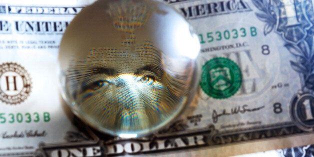 George Washington closeup eye under cristal globe on the one dollar