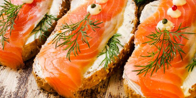 Sandwiches with salted salmon. Close-up.