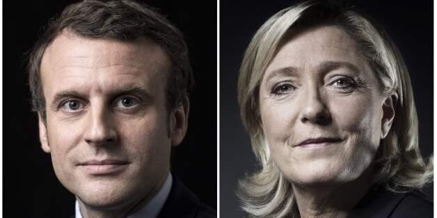 A combination of picture made on April 23, 2017 shows French presidential election candidate for the...